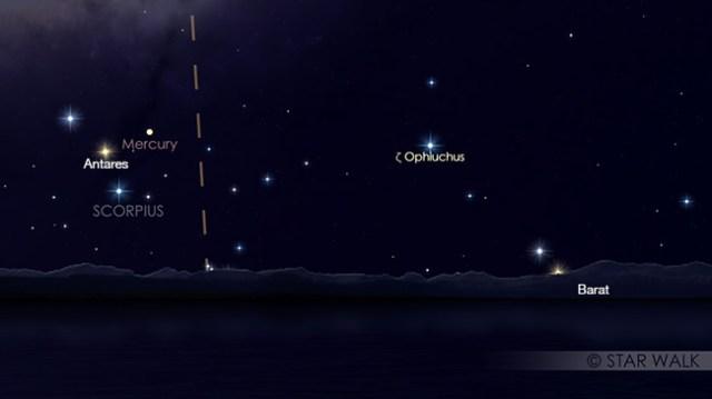 Pasangan Merkurius dan Antares tanggal 13 November 2017 pukul 18:30 WIB. Kredit: Star Walk