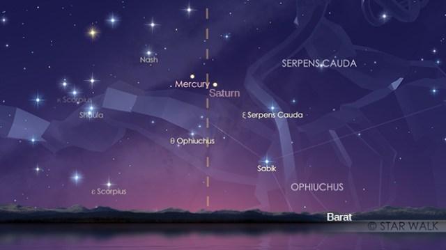 Pasangan Merkurius dan Saturnus tanggal 30 November 2017 pukul 18:00 WIB. Kredit: Star Walk
