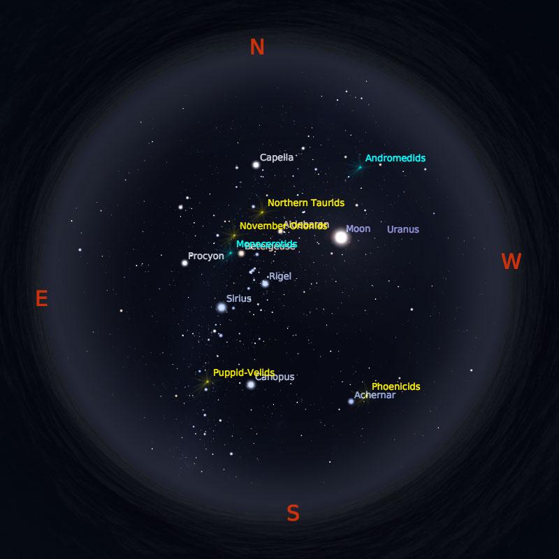 Peta Bintang 1 Desember 2017 pukul 23:59 WIB. Kredit: Stellarium