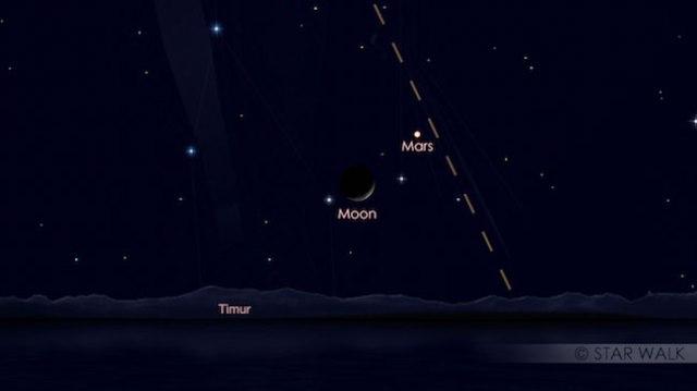 Pasangan Bulan dan Mars tanggal 14 Desember 2017 pukul 03:00 WIB sebelum fajar. Kredit: Star Walk