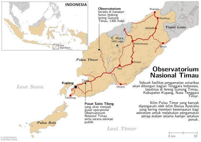 Lokasi Observatorium Nasional Timau di Kecamatan Amfoang Tengah, Kabupaten Kupang, Nusa Tenggara Timur. Kredit: Rhorom Priyatikanto / LAPAN.