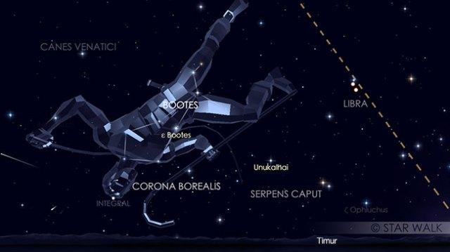 Hujan meteor Quadrantid 4 Januari 2018 pukul 04:00 WIB. Kredit: Star Walk