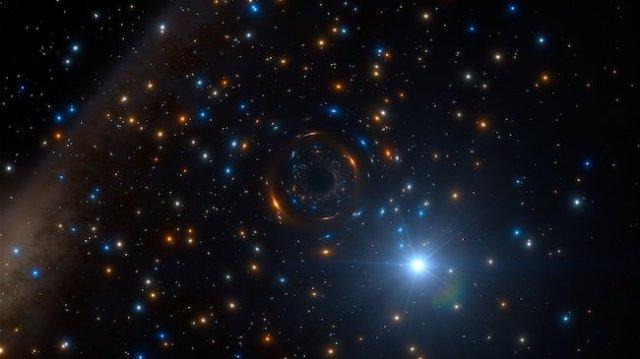 Ilustrasi lubang hitam dan bintang pasangannya di NGC 3201. Kredit: ESO/L. Calçada