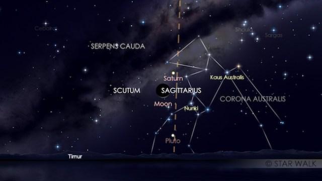 Pasangan Bulan dan Saturnus tanggal 12 Februari 2018 pukul 04:00 WIB. Kredit: Star Walk