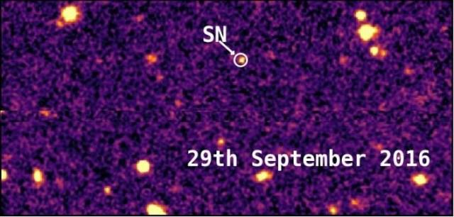 Supernova DES16C2nm saat mencapai puncak kecerlangannya tanggal 29 September 2016. Kredit: Mathew Smith dan Kolaborator Survei Energi gelap.