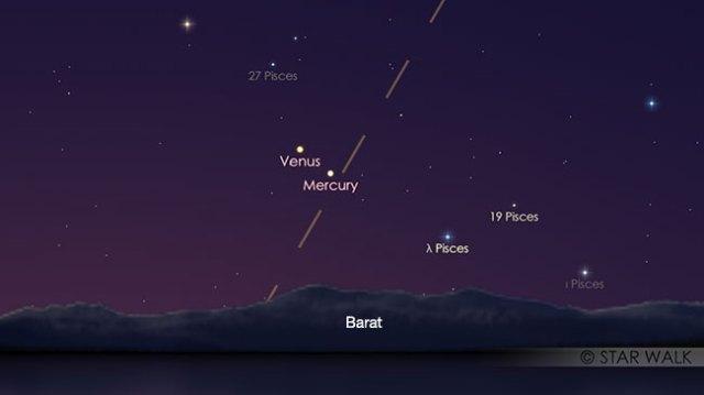 Pasangan Merkurius dan Venus tanggal 4 Maret 2018 pukul 18:30 WIB. Kredit: Star Walk