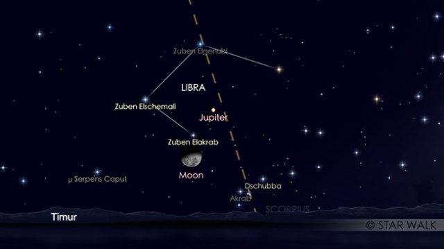 Pasangan Bulan dan Jupiter tanggal 7 Maret 2018 pukul 23:00 WIB. Kredit: Star Walk