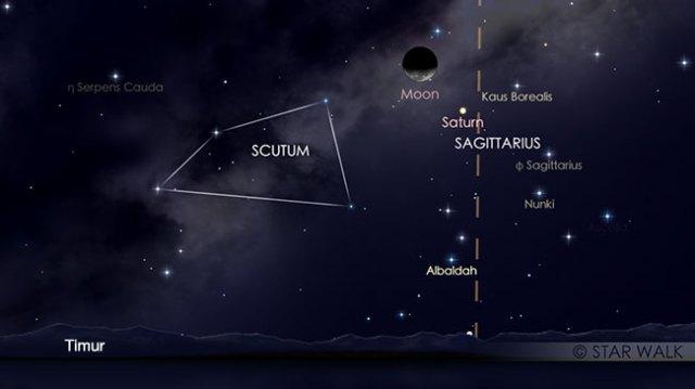 Pasangan Bulan dan Saturnus tanggal 11 Maret 2018 pukul 02:00 WIB. Kredit: Star Walk