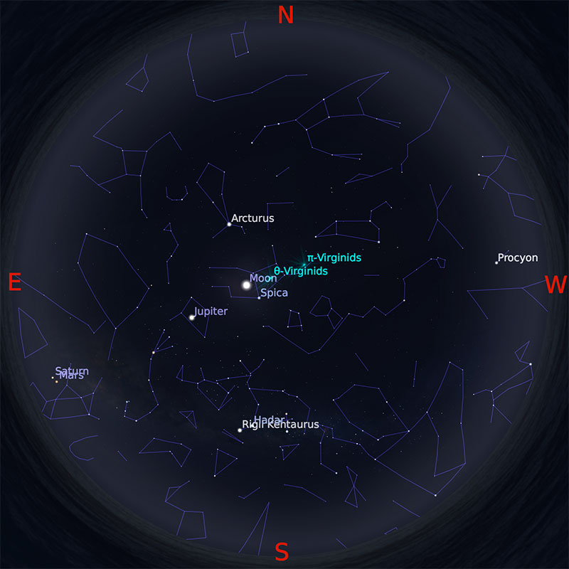Peta Bintang 1 April 2018 pukul 23:59 WIB. Kredit Stellarium