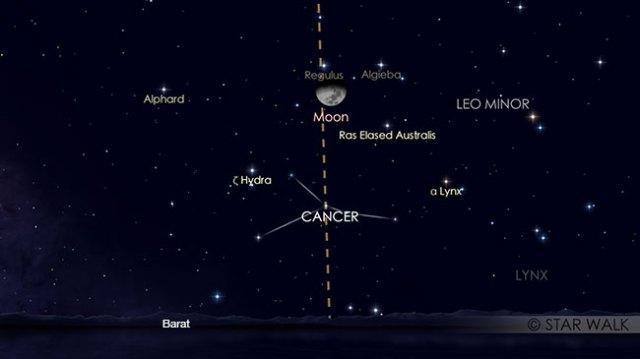 Pasangan Bulan dan Bintang Regulus di rasi Leo pada tanggal 24 April pukul 23:00 WIB. Kredit: Star Walk
