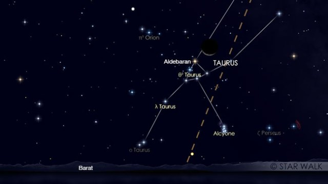 Pasangan Bulan dan Bintang Aldebaran di rasi Taurus pada tanggal 19 April pukul 19:00 WIB setelah Matahari terbenam. Kredit: Star Walk