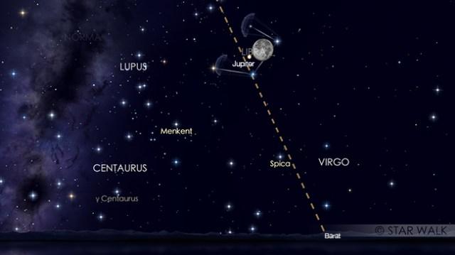 Bulan berkonjungsi dengan Jupiter pada tanggal 1 Mei 2018 pukul 03:00 WIB. Kredit: Star Walk