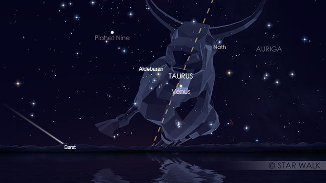 Pasangan Venus dan bintang Aldebaran setelah Matahari terbenam tanggal 2 Mei 2018 pukul 18:15 WIB. Kredit: Star Walk