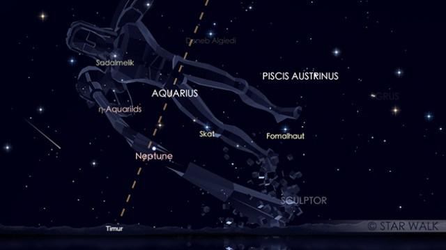Puncak hujan meteor Eta Aquariid pada tanggal 6 & 7 Mei. Simulasi hujan meteor Aquariid ini pada tanggal 6 Mei 2018 pukul 03:00 WIB. Kredit: Star Walk