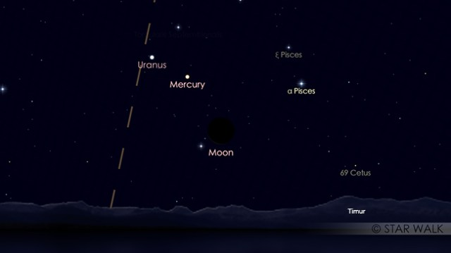 Pasangan Bulan dan Planet Merkurius di pagi hari jelang fajar, pada tanggal 14 Mei 2018 pukul 05:00 WIB. Kredit: Star Walk