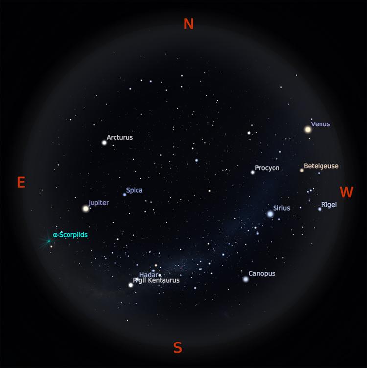 Peta Bintang 15 Mei 2018 pukul 19:00 WIB. Kredit Stellarium