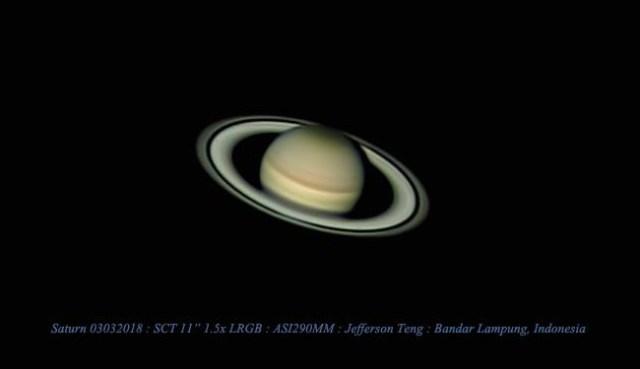 Saturnus difoto dari Lampung. Fotografer: Jefferson teng
