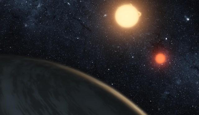 Planet Kepler 16, planet sirkumbinari yang mengitari dua bintang. Kredit: T. Pyle / NASA / JPL-Caltech