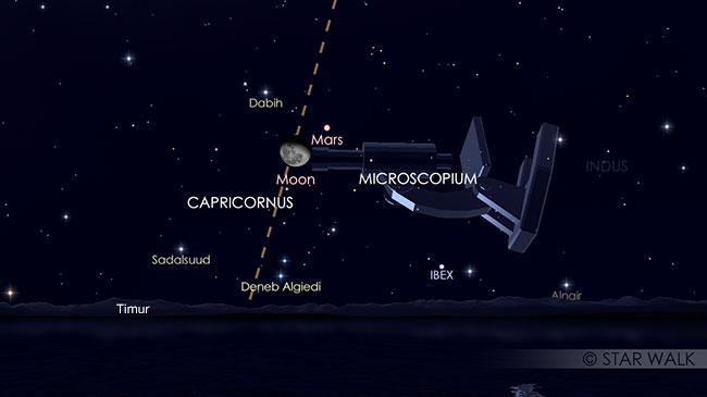 Pasangan Bulan dan Mars tanggal 3 Juni 2018 pukul 23:00 WIB. Keduanya bisa diamati sejak terbit sampai dini hari. Kredit: Star Walk