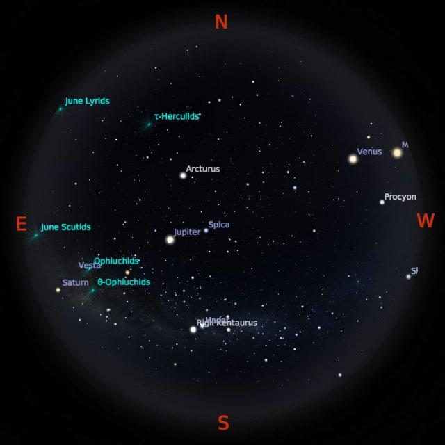 Peta Bintang 15 Juni 2018 pukul 19:00 WIB. Kredit Stellarium