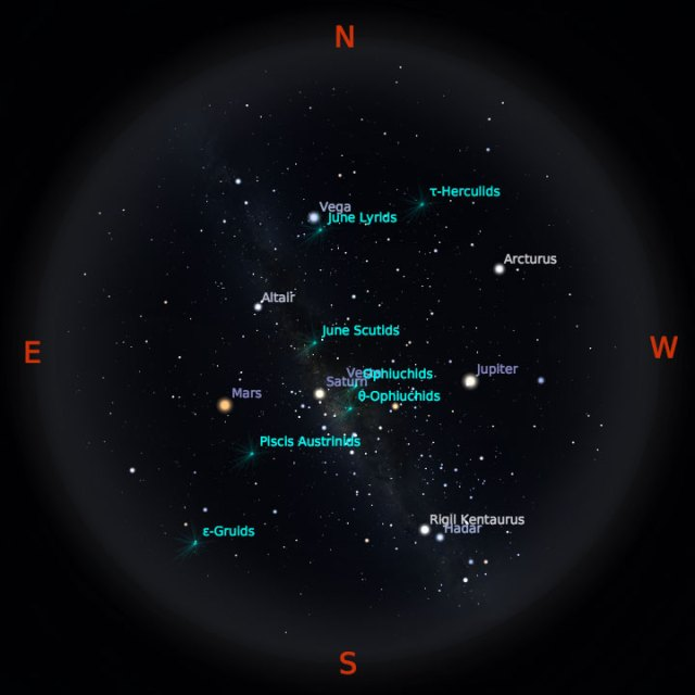 Peta Bintang 15 Juni 2018 pukul 23:59 WIB. Kredit Stellarium