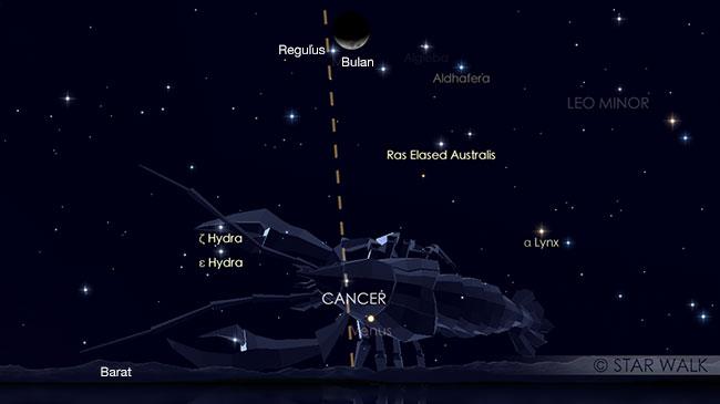 Pasangan Bulan dan Regulus pada tanggal 18 Juni 2018 pukul 20:00 WIB. Kredit: Star Walk
