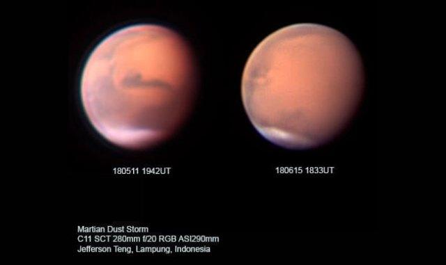 Kenampakan planet Mars di bulan Mei dan Juni. Tampak badai debu di Mars mulai menutupi permukaan planet tersebut, meski ada perbedaan rotasi karena waktu pengambilan yang berbeda. Kredit: Jefferson Teng