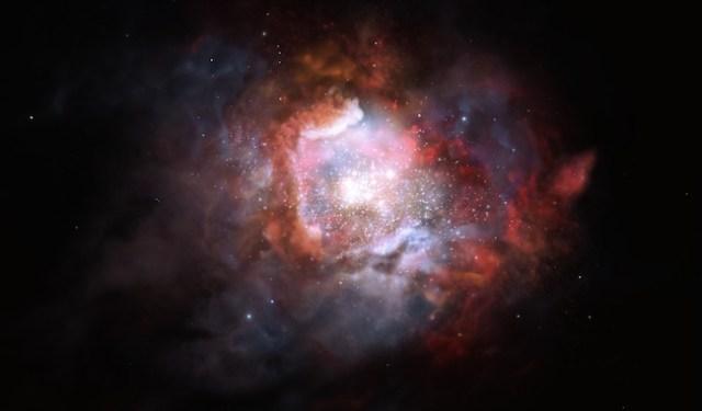 Ilustrasi Galaksi Starburst yang memiliki laju kelahiran bintang yang sangat tinggi. Kredit: ESO/M. Kornmesser