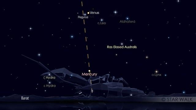 Pasangan Venus dan Regulus pada tanggal 10 Juli 2018 pukul 19:00 WIB. Kredit: Star Walk