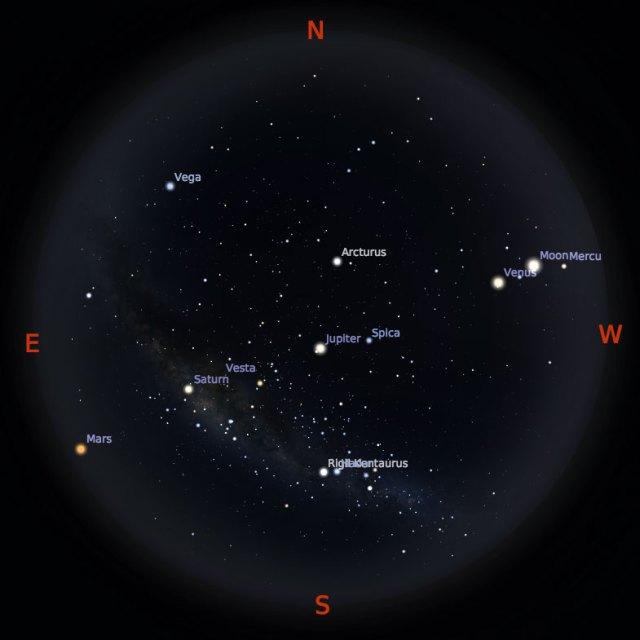 Peta Bintang 15 Juli 2018 pukul 19:00 WIB. Kredit Stellarium