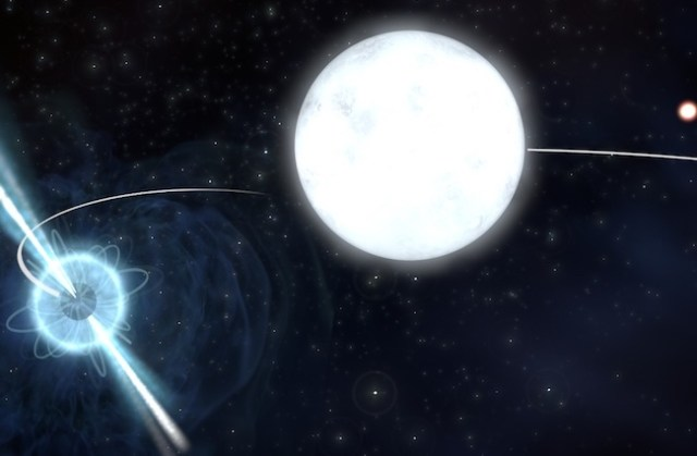 Sistem bintang bertiga yang terdiri dari pulsar dan dua bintang katai putih. Kredit: ASTRON