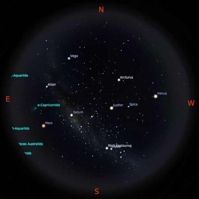 Peta Bintang 1 Agustus 2018 pukul 19:00 WIB. Kredit Stellarium