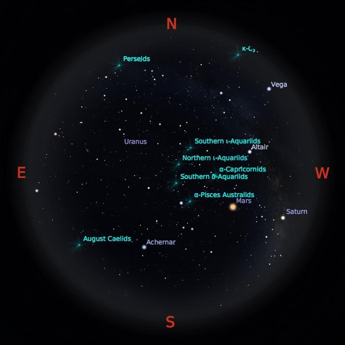Simulasi benda-benda langit yang bisa diamati 12 Agustus 2018 pukul 02:00 dini hari. Kredit: Stellarium