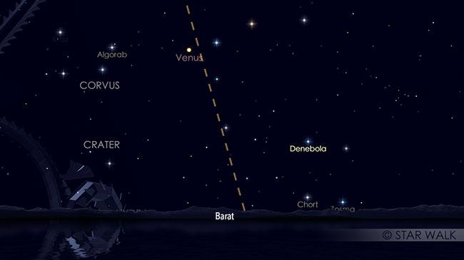 Venus pada saat elongasi timur maksimum, terbenam ~3 jam setelah Matahari terbenam. Kredit: Star Walk