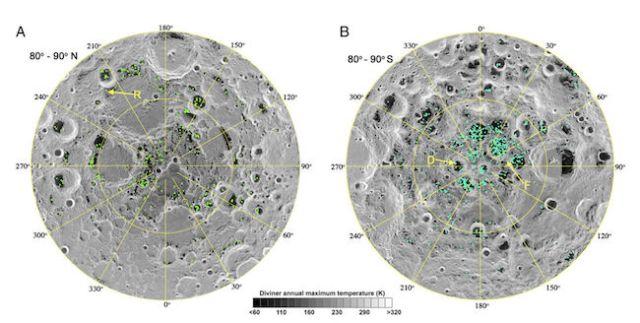 Air di Bulan ditemukan di kawah yang berada di kutub selatan (kiri) dan kutub utara (kanan). Kredit: M3 / Chandrayaan-1 / Li et al