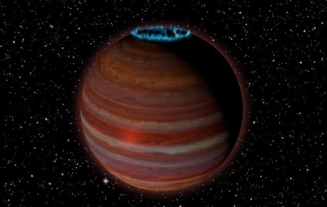 Ilustrasi exoplanet raksasa dengan pertunjukan aurora yang spektakuler. Kredit: Caltech/Chuck Carter; NRAO/AUI/NSF