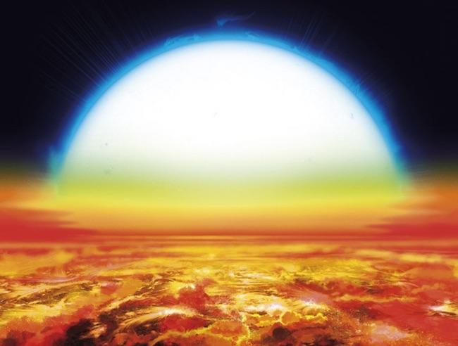 Ilustrasi exoplanet KELT-9b. Tampak bintang biru panas yang ukurannya 70 ukuran Matahari. Kredit: Denis Bajram.