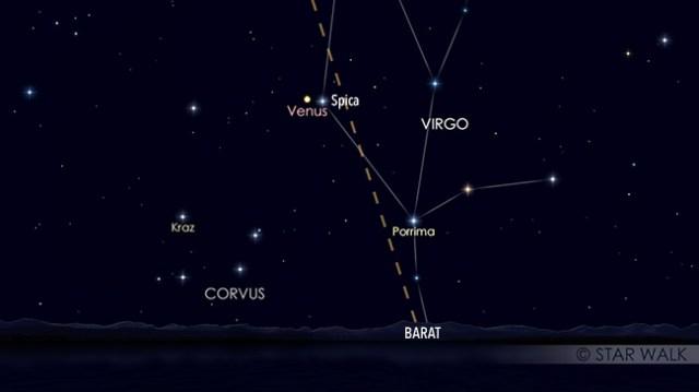 Pasangan Venus dan Spica setelah Matahari terbenam pada tanggal 2 September pukul 19:00 WIB. Kredit: Star Walk