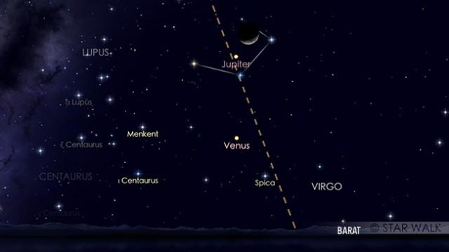Konjungsi Bulan dan Jupiter tanggal 14 September 2018 pukul 19:00 WIB. Pasangan Bulan dan Jupiter sudah bisa diamati sejak Matahari terbenam. Kredit: Star Walk