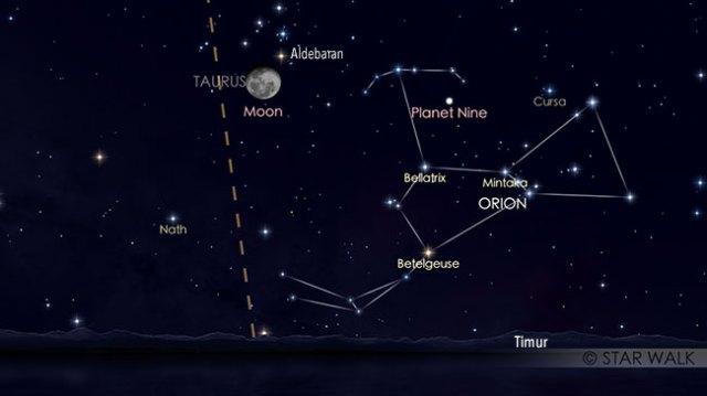 Pasangan Bulan dan bintang Aldebaran tanggal 27 Oktober pukul 22:00 WIB. Kredit: Star Walk