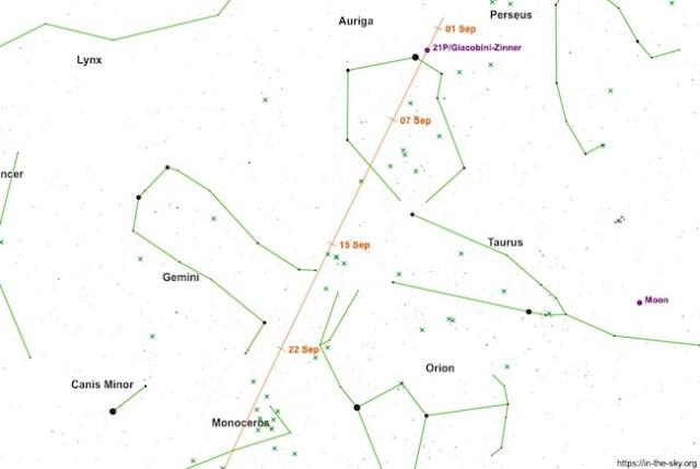 Peta jejak komet 21P/Giacobini-Zinner selama bulan September. Kredit: in-the-sky.org