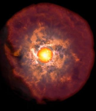 Kabut Debu di Sekeliling Ledakan Bintang Maharaksasa Merah
