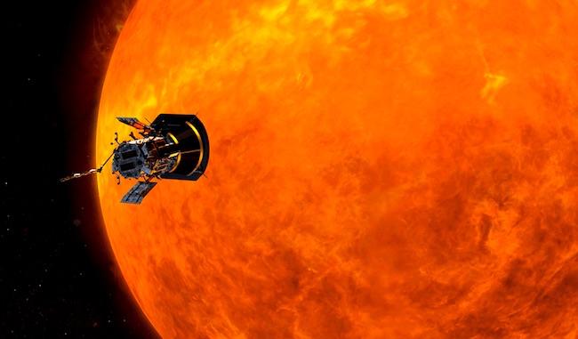 Ilustrasi Wahana Parker saat berpapasan dengan Matahari. Kredit: NASA