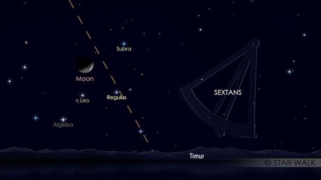 Pasangan Bulan dan bintang Regulus, 2 November pukul 02:00 WIB, sebelum Matahari terbit. Kredit: Star Walk