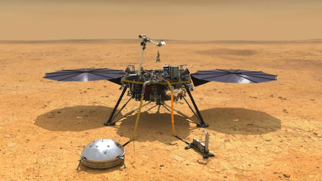 Ilustrasi Wahana InSight setelah mendarat di permukaan Mars dan membentangkan instrumennya. Kredit: NASA/JPL-Caltech