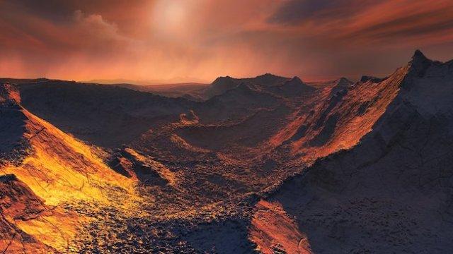 Ilustrasi permukaan Barnard b. Kredit: ESO/M. Kornmesser