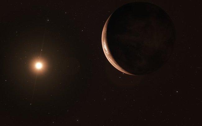 Ilustrasi planet Bumi Super yang mengitari bintang Barnard. Kredit: ESO/M. Kornmesser