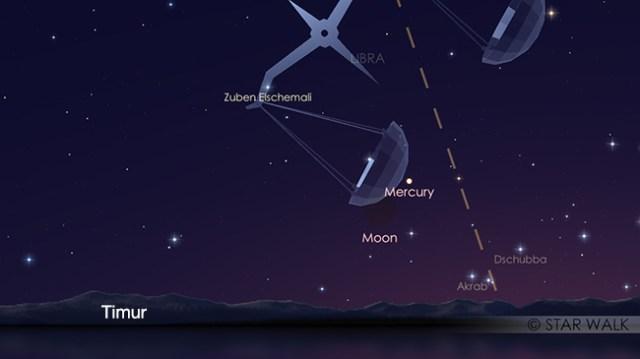 Pasangan Bulan dan Merkurius 6 Desember 2018 pukul 05:00 WIB. Kredit: Star Walk