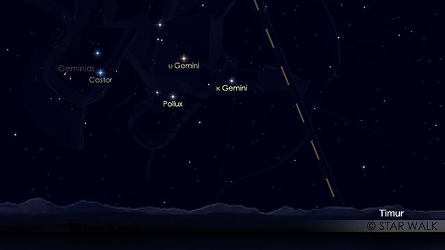 Puncak hujan meteor Geminid 13 - 14 Desember 2018. Penampakan hujan meteor Geminid 13 Desember 2018 pukul 21:00 WIB. Kredit: Star Walk