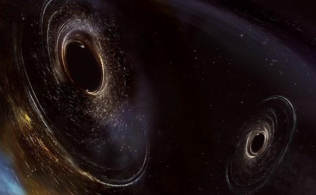 Ilustrasi dua lubang hitam yang saling mengitari dan akhirnya bergabung. Kredit: LIGO/Caltech/MIT/Sonoma State (Aurore Simonnet)